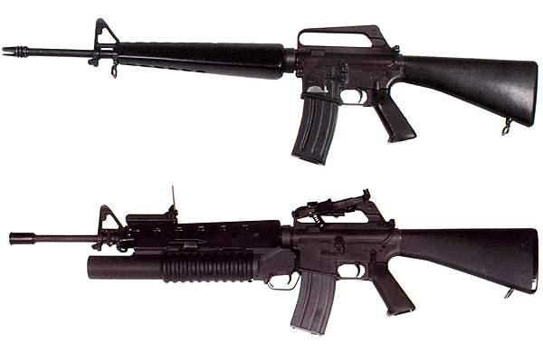 13 M16 rifles